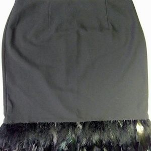 ❤️ Nicole Miller feather trimmed skirt 10